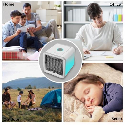 Climatiseur Portable avec Prise USB - 3 en 1 Rafraichisseur + Humidificateur + Purificateur d'Air